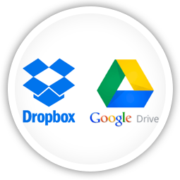 Share content from YouTube, RSS,<br/>DropBox & Google Drive